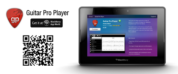 Guitar Pro Player now available for Playbook tablet
