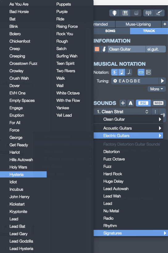 """How to use Muse signature sounds in Guitar Pro 7.5. Here is how to find Muse signature sound called """"Hysteria"""" in Guitar Pro 7.5."""