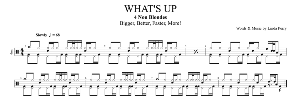 How to play what's up by 4 Non Blondes on Drums.