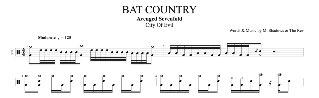 The score drums for Bat country by Avenged sevenfold.