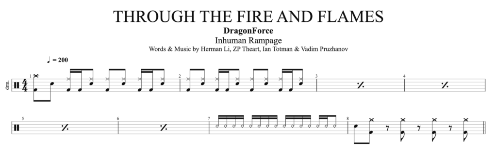How to play Through the Fire and Flames, by Dragon, on Drums.
