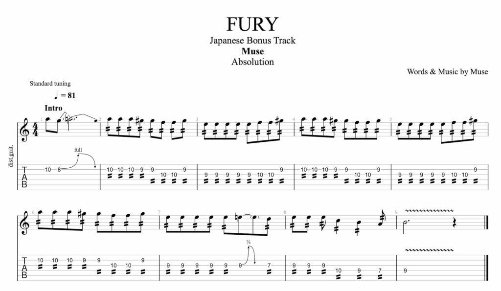 la tablature de guitare pour fury de muse, avec tablature et portée