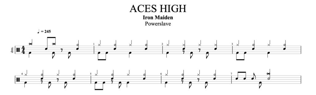 The drums score for Aces High by Iron Maiden.