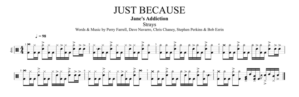 The drum score of the song Just Because, by Jane's addiction.