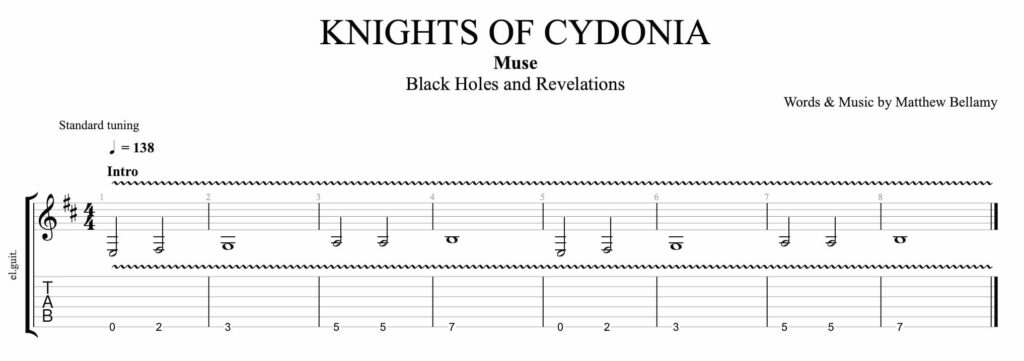 The guitar intro tablature of the song Knights of Cydonia by the band Muse.