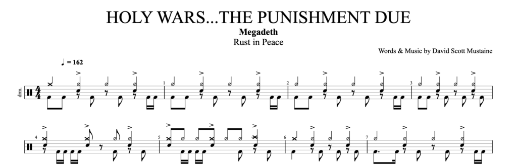 The score for Holy Wars by Megadeth on drums.
