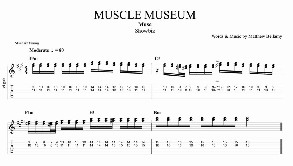The guitar tablature for Muscle Museum by muse from the album Showbiz.