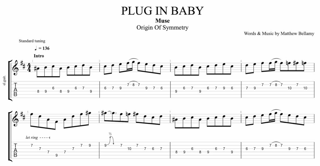 The tablature of Plug in Baby by Muse.
