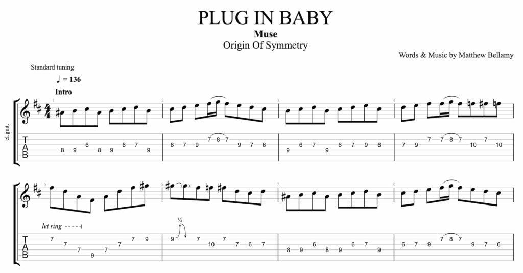 comment jouer plug in baby de muse a la guitare. Voici la tablature des 8 premières mesures.