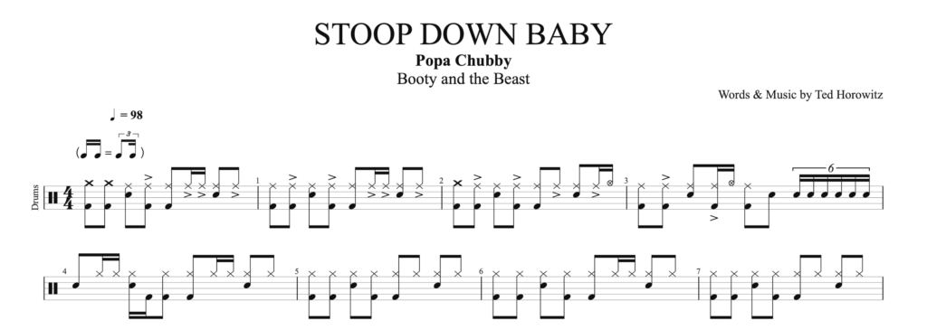 The drum score of the pattern for Stoop Down Baby by Popa Chubby.