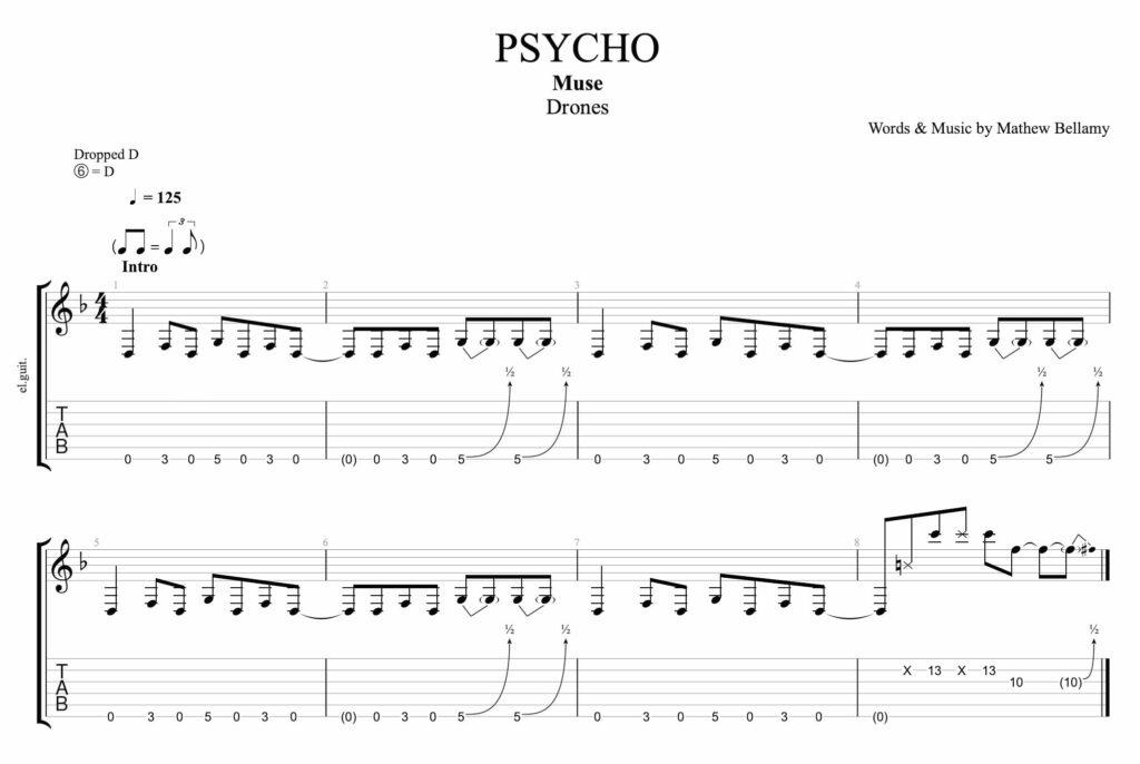 la partition de guitare pour l'intro du morceau psycho  de groupe muse avec tablature et portée
