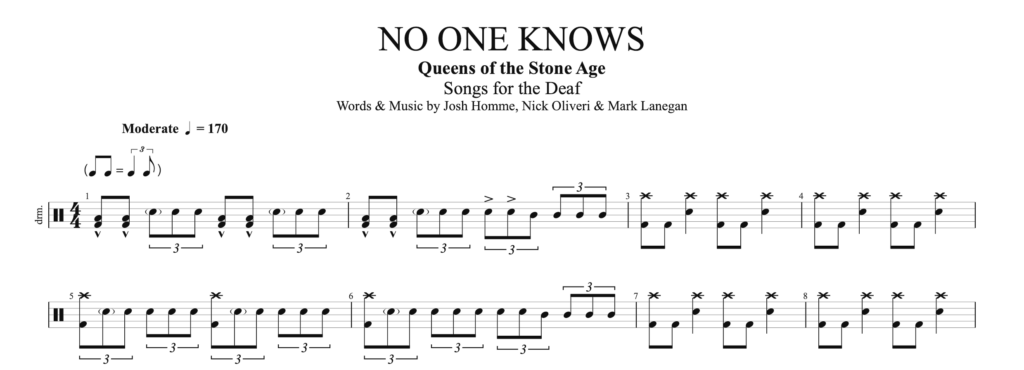 The score for No One Knows, by Queens of the Stone Age, on drums.