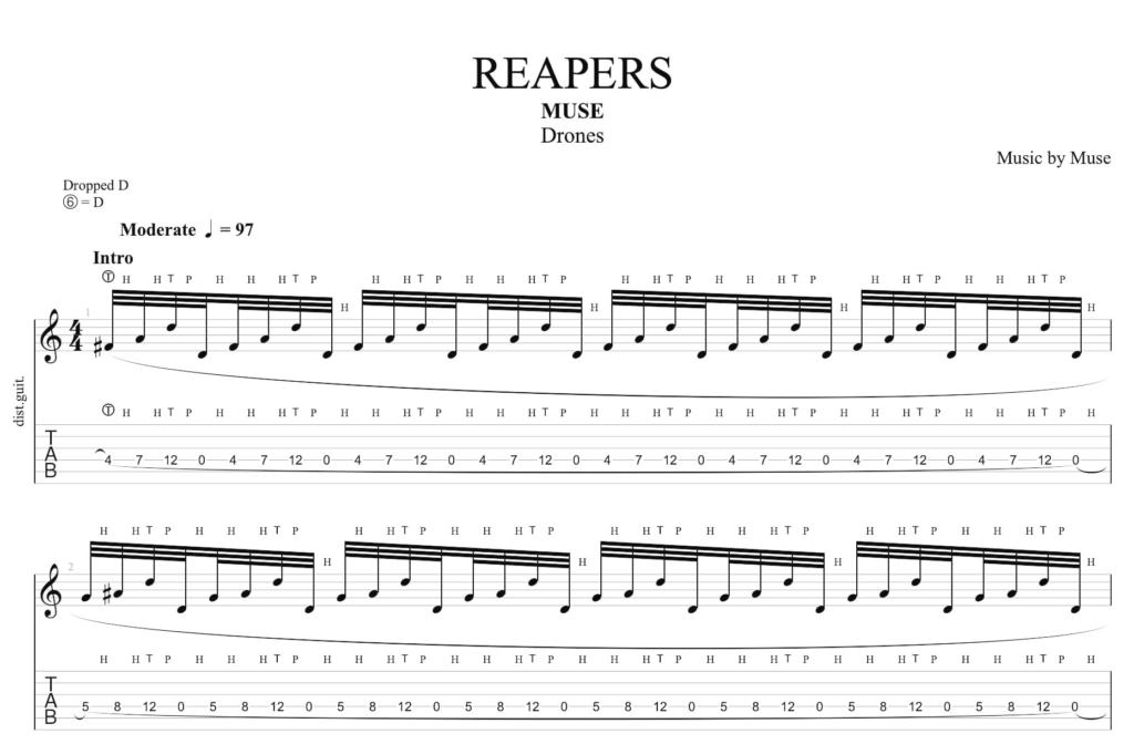 La tablature de guitare pour l'introduction de Reapers de Muse a la guitare.