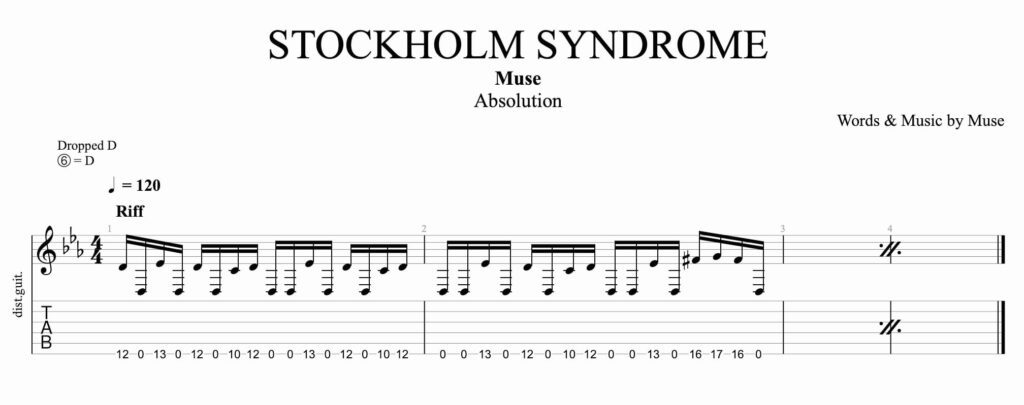 La partition pour stockolm syndrom de muse a la guitare