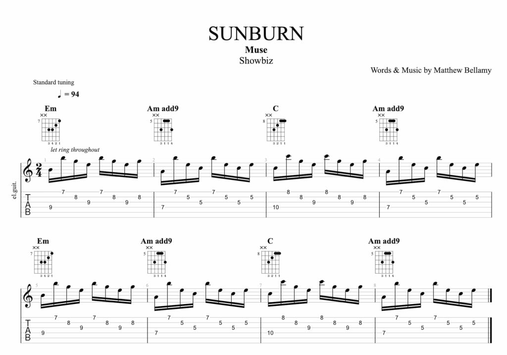 La partition pour guitare de l'intro du morceau Sunburn du groupe Muse, avec la tablature et la portée. Cette partition montre les 8 premières mesures du riff d'intro.