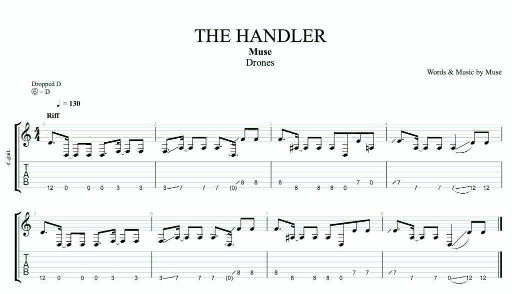 The intro of the handler by muse on the guitar.