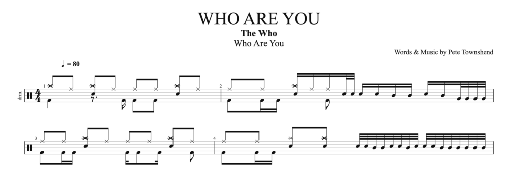 The score for the drum pattern, who are you, by the who.