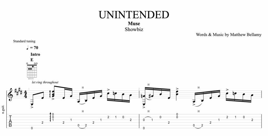 la partition de unintended par muse a la guitare