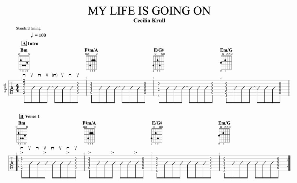 la tabmature de la version accord du générique de la casa de papel : My Life Is Going On, par Cecilia Krull