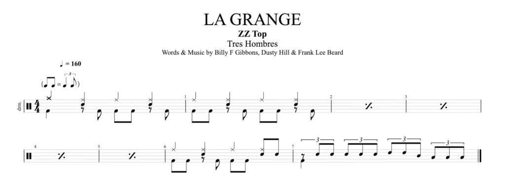The drum score for La Grange by ZZ Top.
