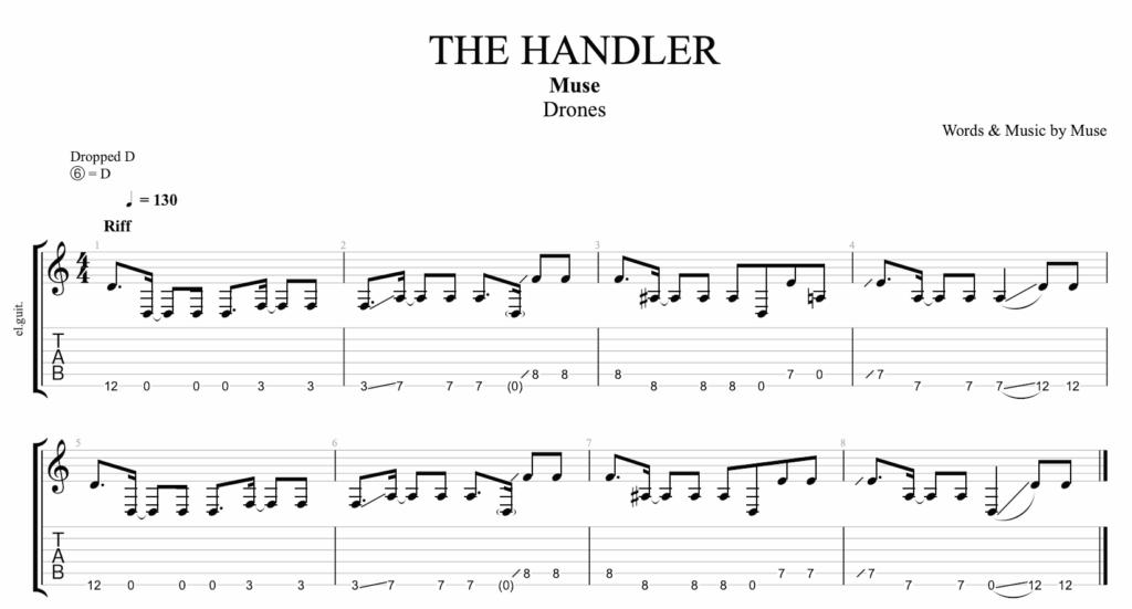 La tablature pour jouer The Handler de Muse à la guitare avec la tablature et la portée