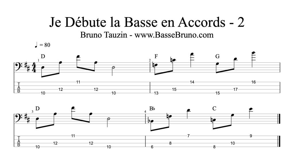Exercice pour guitare basse, comment jouer les accords à la basse. Par le bassiste Bruno Tauzin.
